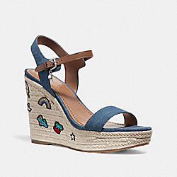 HIGH ESPADRILLE WEDGE SANDAL WITH PRAIRIE SOUVENIRS - fg2111 - DENIM