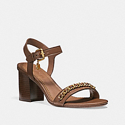 COACH FG2112 - CHAIN MID HEEL SANDAL SADDLE
