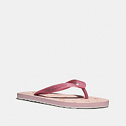 ROLLER BOTTOM FLIP FLOP WITH DAISY PRINT - fg2181 - ROUGE/LIGHT PINK