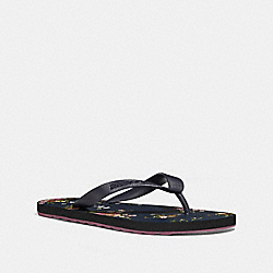 ROLLER BOTTOM FLIP FLOP WITH FLORAL BUNDLE PRINT - fg2182 - MIDNIGHT NAVY/NAVY