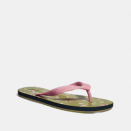 COACH FG2183 ROLLER BOTTOM FLIP FLOP WITH TOSSED ROSE PRINT LIGHT-PINK/YELLOW-GREEN