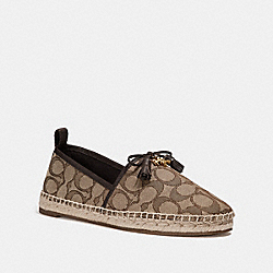 COACH FG2204 - MADISON ESPADRILLE IN SIGNATURE JACQUARD KHAKI/MAHOGANY