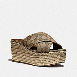 COACH FG2205 - SLIDE ESPADRILLE WEDGE KHAKI