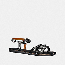 COACH FG2206 - SANDAL WITH COACH LINK BLACK/BLACK WHITE/GUNMETAL
