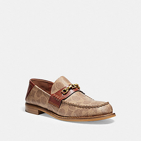 COACH FG2425 PUTNAM LOAFER IN SIGNATURE CANVAS TAN/RUST