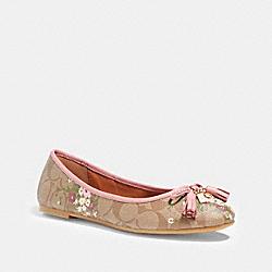 COACH FG2563 Benni Ballet With Floral Bundle Print KHAKI/PINK
