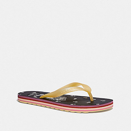 COACH FG2606 TAY FLIP FLOP WITH MINNIE MOUSE BLACK/YELLOW