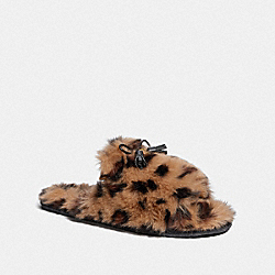COACH FG3160 Zoe Slipper With Ocelot Print NATURAL