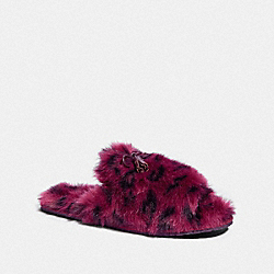 COACH FG3160 Zoe Slipper With Ocelot Print OXBLOOD