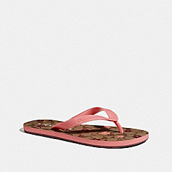 COACH FG3436 Zak Flip Flop With Floral Print KHAKI/PETAL