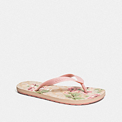 COACH FG3436 Zak Flip Flop With Floral Print LIGHT KHAKI/CARNATION