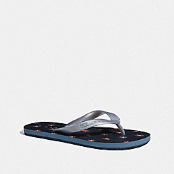 ZAK FLIP FLOP WITH FLORAL PRINT - FG3437 - NAVY/SILVER