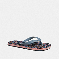 COACH FG3438 Zak Flip Flop With Floral Print NAVY/CORNFLOWER