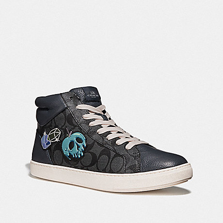 COACH FG3840 DISNEY X COACH C204 HIGH TOP SNEAKER WITH SNOW WHITE AND THE SEVEN DWARFS PATCHES GRAPHITE MULTI