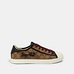 C136 LOW TOP SNEAKER WITH HORSE AND CARRIAGE PRINT - FG4715 - KHAKI MULTI