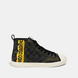 C207 HIGH TOP SNEAKER WITH HORSE AND CARRIAGE PRINT - FG4716 - CHARCOAL MULTI
