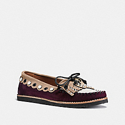 COACH G1210 - ROCCASIN SLIP ON WINE/BEECHWOOD