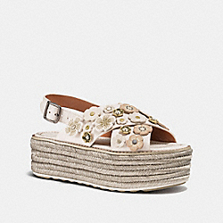 COACH G1809 Espadrille Sandal With Tea Rose CHALK