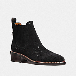 BOWERY CHELSEA BOOT WITH CUT OUT TEA ROSE - G1823 - BLACK