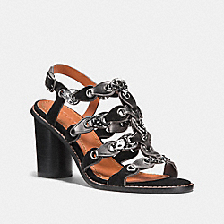 COACH G2209 - MID HEEL SANDAL WITH COACH LINK BLACK/BLACK WHITE/GUNMETAL