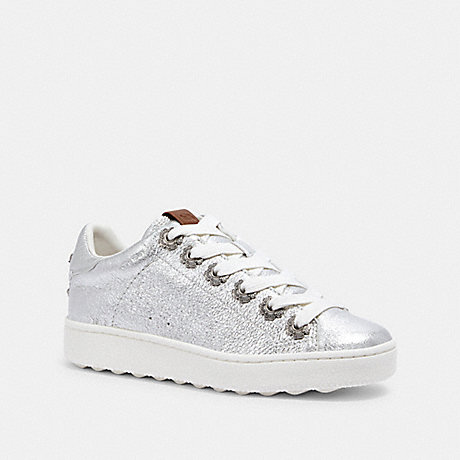COACH G2493 C101 LOW TOP SNEAKER WITH TEA ROSE EYELETS SILVER/SILVER