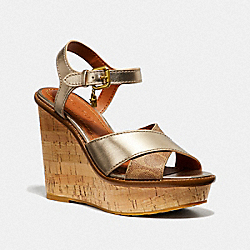 COACH G3164 Cross Band High Wedge Sandal TAN/CHAMPAGNE