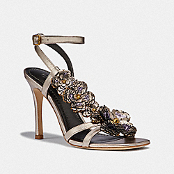 COACH G3168 Bianca Sandal With Leather Paillettes CHAMPAGNE