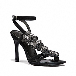 COACH G3169 Bianca Sandal With Leather Paillettes BLACK