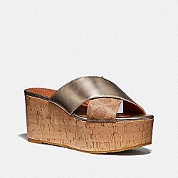 COACH G3177 Cross Band Slide Wedge Sandal TAN/CHAMPAGNE