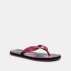 COACH G3437 - ZAK FLIP FLOP WITH FLORAL PRINT NAVY/PINK