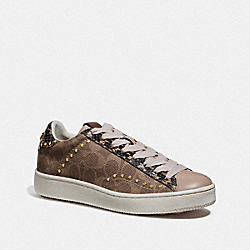 COACH G3640 - C101 LOW TOP SNEAKER TAN/NUDE PINK