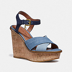 COACH G3702 Cross Band High Wedge Sandal DENIM/DARK DENIM