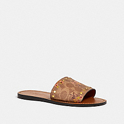 CECILIA SLIDE WITH PRAIRIE PRINT AND RIVETS - G3707 - TAN