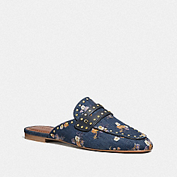COACH G3722 Faye Loafer Slide With Painted Floral Bow Print DENIM