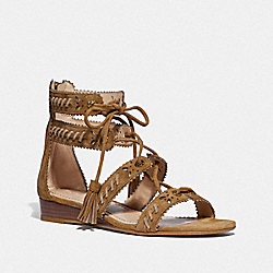 COACH G3743 Via Demi Wedge Sandal PEANUT/OAT