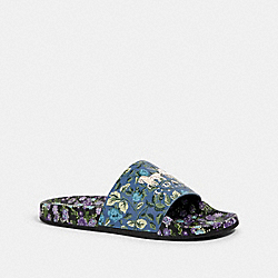COACH G3833 Udele Sport Slide With Sleeping Rose Print BLUE MULTI