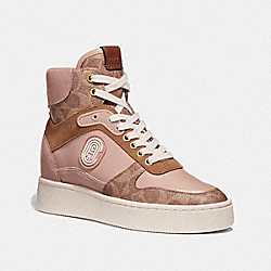 COACH G4335 C220 High Top Sneaker With Coach Patch TAN/PALE BLUSH