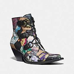 LACE UP CHAIN BOOTIE WITH KAFFE FASSETT PRINT - G4588 - TAN MULTI