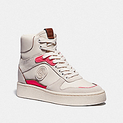 COACH G4656 C220 High Top Sneaker CHALK/FLUO PINK