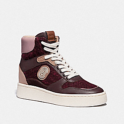 COACH G4657 C220 High Top Sneaker OXBLOOD/TRUE PINK