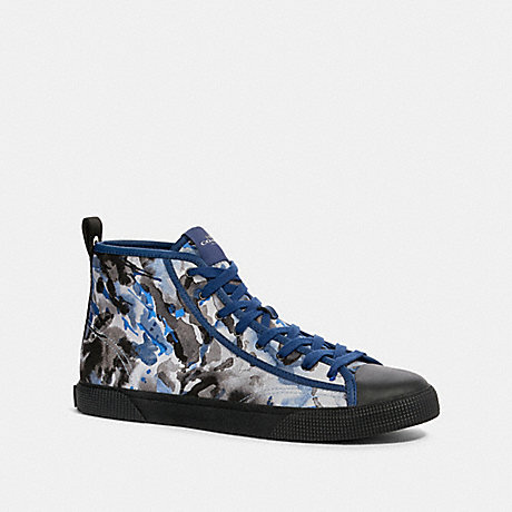 COACH G4672 C207 HIGH TOP SNEAKER WITH COACH PATCH BLUE WATERCOLOR CAMO