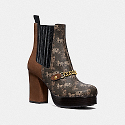 COACH G4824 - CHELSEA PLATFORM BOOTIE WITH HORSE AND CARRIAGE PRINT BROWN/SADDLE