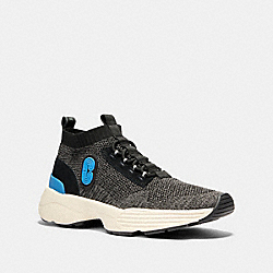 COACH G4914 C252 Knit Runner With Coach Patch BLACK BRIGHT BLUE