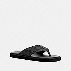 COACH G4921 Flip Flop In Signature Canvas CHARCOAL MULTI