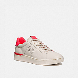 COACH G5040 Lowline Low Top Sneaker CHALK/NEON PINK