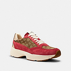 C152 TECH RUNNER - G5057 - KHAKI/DARK PINK