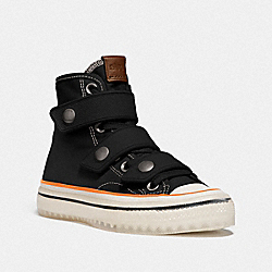 COACH G5064 High Top Button Up Sneaker BLACK