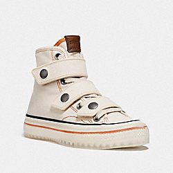 COACH G5064 High Top Button Up Sneaker CHALK