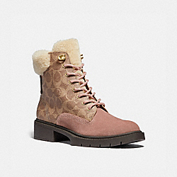 LORIMER BOOTIE IN SIGNATURE CANVAS - G5496 - DUSTY ROSE/TAN