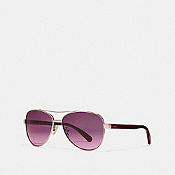 COACH L1015 Horse And Carriage Pilot Sunglasses SHINY LI GOLD/BERRY